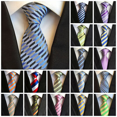 8cm Tie For Men Classic Striped Polyester Wedding Party Jacquard Woven Necktie