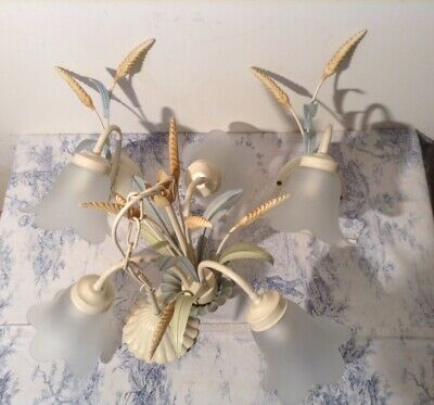 French / Italian Style Tole 3 Arm Chandelier Ceiling & Wall Light Set - Toleware
