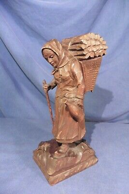 Antique Large Black Forest German Wood Carving Old Women Figurine Stamp/Mark