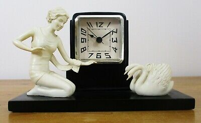Vintage Art Deco Style Mantel/Desk Clock with Lady and Two Swans Figures