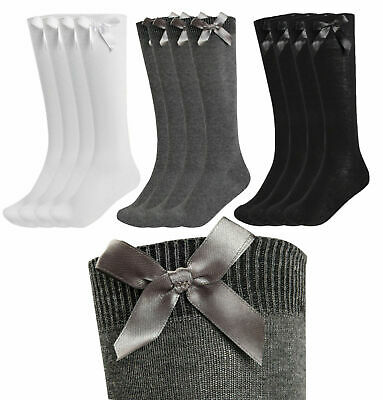 Girls Knee High Bow Socks Lycra Long School Black Grey Navy White 3 Pairs