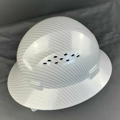 HDPE   Hydro Dipped White/Silver  Full Brim Hard Hat with Fas-trac Suspension