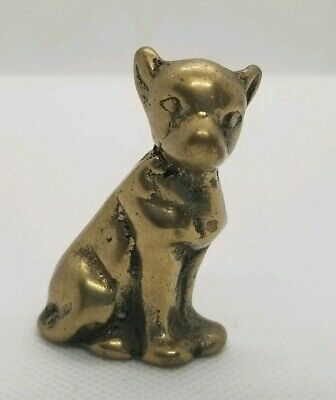 """Vintage bronze brass terrier figure pre-owned  Nicely detailed 2"""" tall"""