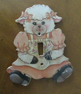 vintage CHILD'S LIGHT FIXTURE COVER Switch Plate LAMB Made of Wood