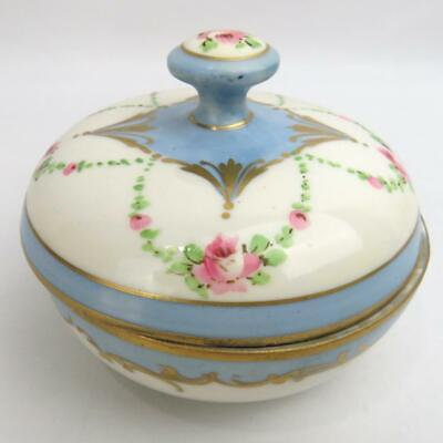 VNTG OSBORNE FLORAL ROUND Vanity Trinket Jar Hand Painted Blue White Gold Accent