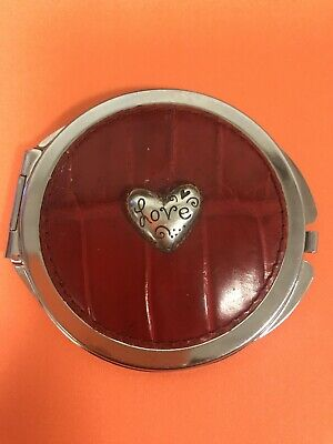 Vintage Brighton Red Croc Leather Heart Love Metal Compact Makeup Mirror