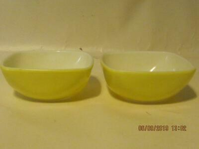 2 Pyrex Solid yellow serving hostess bowls #410 small size dip dressing nut