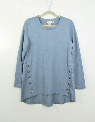 LOGO Lounge by Lori Goldstein Medium Crew Neck Tunic Top Lace Side Button Detail