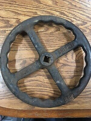 "LARGE UNIQUE 10"" INCH VINTAGE STEAMPUNK CAST IRON WATER VALVE HANDLE 4 Spoke"
