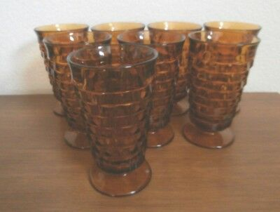 Indiana Glass Colony Whitehall Cubist Harvest Amber Footed Water Glasses 8