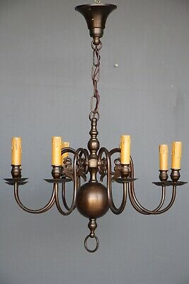Large bronze baroque French Provincial chandelier 8 scroll arms original 1920's