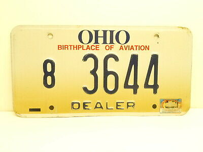 Ohio Dealer License Plate # 9 3644 Brown County Birthplace Of Aviation 1997 1998