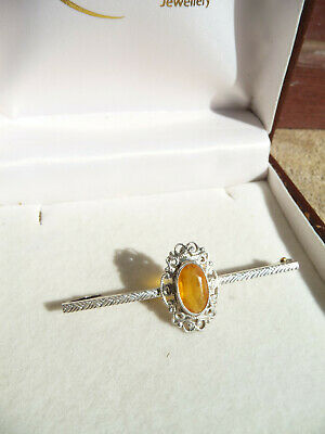 Pretty Vintage Sterling Silver Art Nouveau Style Citrine Bar Brooch
