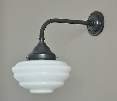 """MAGILL-EXTERIOR WALL LIGHT BRACKET-STEEL BRONZE-WHITE GLASS """"CANNES"""" SHADE-deco"""