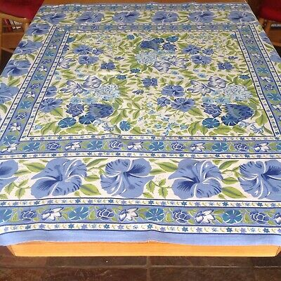 "Square Tablecloth Cotton Floral Shades Of Blue Green & Off White 48"" X 47"""