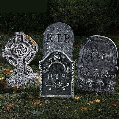 Gray RIP Plastic Tombstone Decoration Haunted House Yard Garden Party Supplies