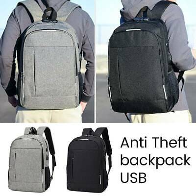 Anti-Theft Backpack Mens Travel School Laptop Bag Ruksack With USB Charger Port