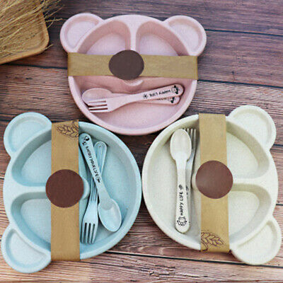 Kids Toddler Cartoon Plate Spoon Fork Dishes Fruits Snacks Training Cutlery Set