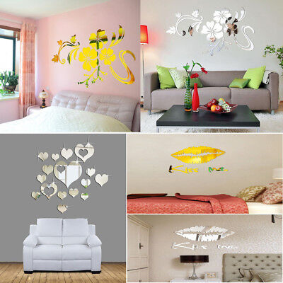 3D Mirror Stickers Vinyl Removable BedroomWall Sticker Decal Home Decor Art DIY