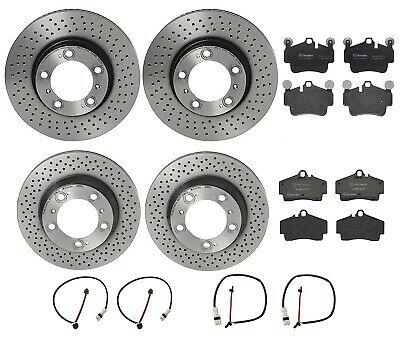 For Porsche 911 Front and Rear Brake Disc Rotors Pads with Sensor /& Hardware Kit