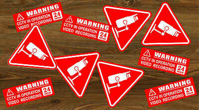 10 X Warning Stickers Signs CCTV Video Camera Recording Home Car Vehicle RED +