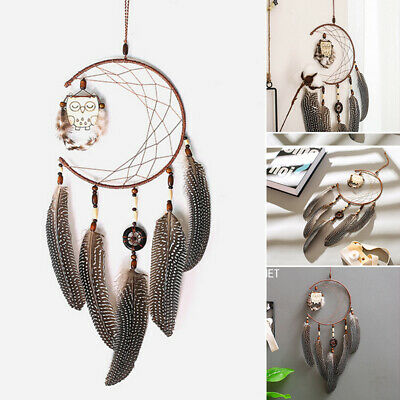Dream Catcher With Feathers Wooden Owl Wall Hanging Ornament Bedroom DIY Gift