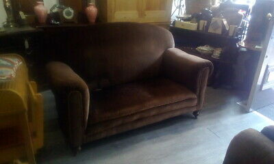 Antique 1920S Club Sofa With Original Castors