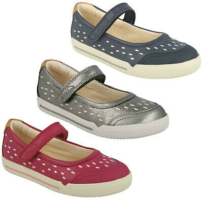 Girls Infant Clarks Lil Folk Lou Hook & Loop Casual Leather Shoes Mary Jane Size