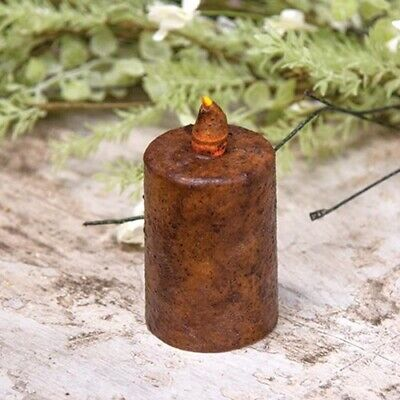 "Primitive Rustic Country LED Candle Timer Pillar 3"" Grungy/Burnt Mustard"