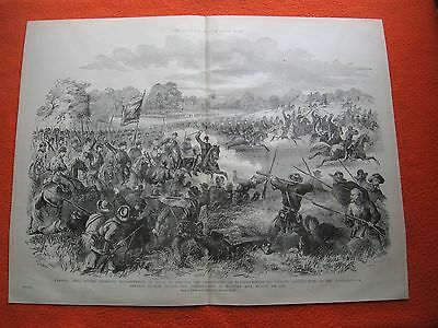 1889 Civil War Print - Gen. Hooker Engages Confederates at Malvern Hill Aug.1862