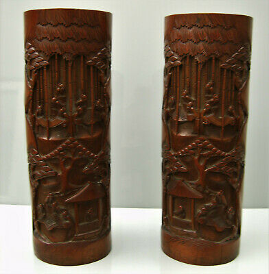 Pair Chinese bamboo large brush pots carved figures architectural detail trees
