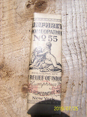 Antique Humphreys Homeopathic Medicine No 55 Relief for Indigestion Nice shape