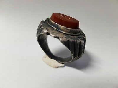 Roman Silver Marriage Ring with Clasped Hand Intaglio  3rd century AD.