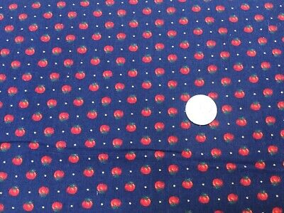 Small Tomato on Navy Blue Background 100 % cotton Fabric