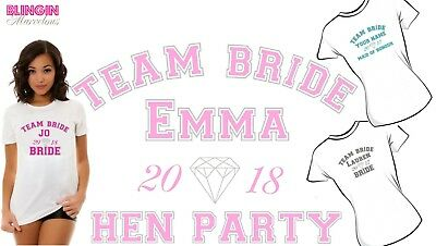 Personalised Team Bride Pink Grey Blue Bride Hen  Iron On T-Shirt Transfer