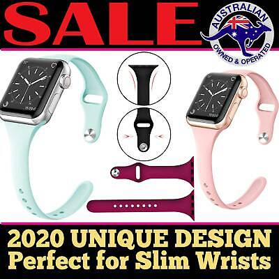Apple Watch iWatch Series 5 4 3 2 1 Silicone Replacement Slim Strap Band 38 40