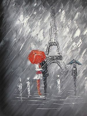 Paris Black White Red Large Oil Painting French Contemporary Original Canvas Art