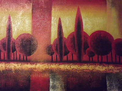 modern landscape forest large oil painting canvas red trees contemporary art