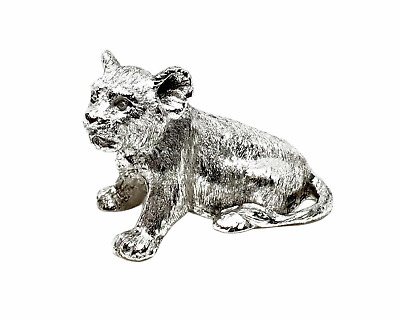 English Made Solid Sterling Silver Lion Cub Animal Model figure