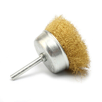 """2Pcs 3"""" Copper Wire Cup Wheel Brush Plated Crimped Steel F Rotary Tool 1/4""""Shank"""