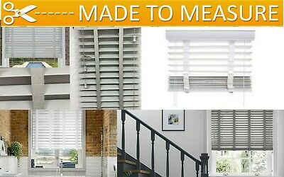 Faux Wood Made To Measure White Venetian Blinds Tape 50Mm Slats Window Blinds