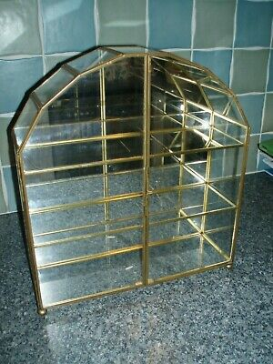 Small Arched 2 Door Glass Metal Frame Display Cabinet