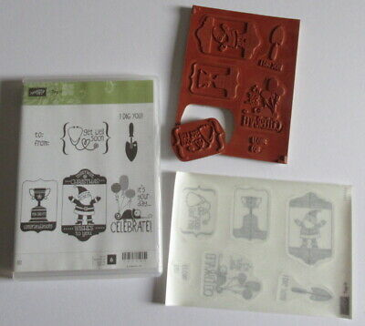 Stampin Up Tag It Foam Mounted Cling Stamp Set - 6 Stamps - Please Rd