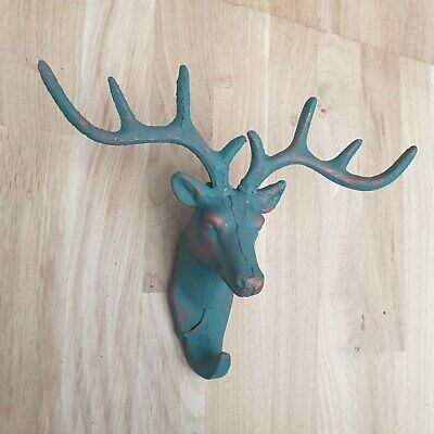 Blue Verdigris Cast Iron Stag Hook, Single hook, animal head, Deer, Antler, Gift