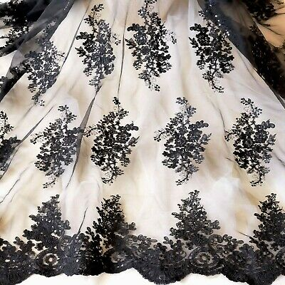 Black Embroidery Floral Costume Lace Fabric Sequin Evening Dress Craft Trim 0.5Y