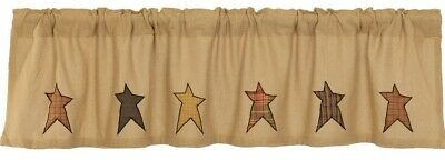 "Rustic Burlap Window Valance Country Plaid Star Patches 72"" Wide Stratton"