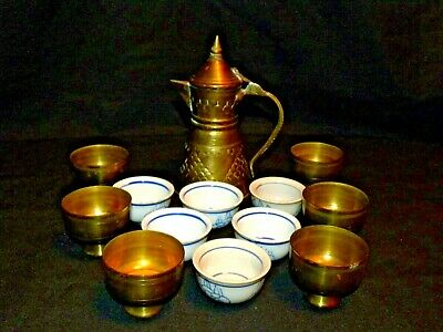 Vintage Middle Eastern 13 Piece Copper & Ceramic Hallmarked Tea Set