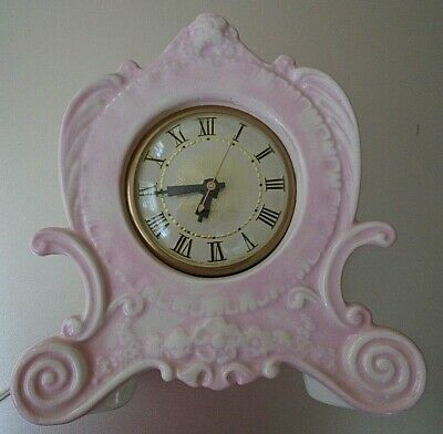 Vintage Holland Mold Lanshire Baby Pink Floral Electric Ceramic Mantle Clock