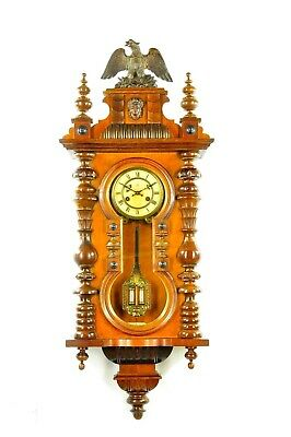 Amazing Antique Junghans Keyhole Spring Driven Wall Clock approx.1900 Germany
