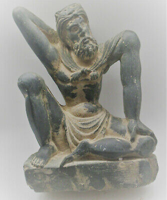 Circa 200Bce Ancient Gandhara Stone Schist Statue Of Atlas Very Rare